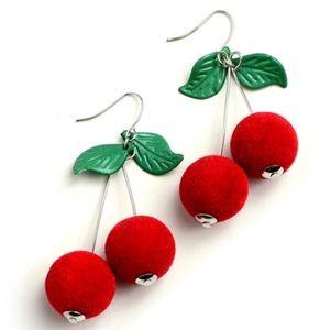 🍒 Cherry Fruit Leaf Dangle Earrings Cute & Trendy